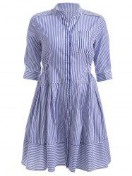 Pocket Pinstripe High Waist Shirt Dress