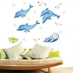 Cartoon Spindrift Whale Removable Ceramic Tile Wall Sticker -