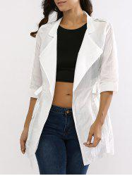 See-Through Drawstring Turn-Down Collar Coat -