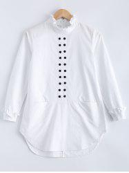 Pure Color Flounce Button Design Blouse - WHITE XL