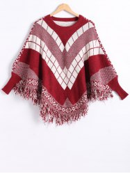 Dolman Sleeves Geometric Pattern Fringed Cape