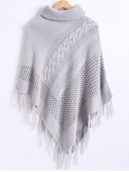 Funnel Neck Fringe Knitted Cape - GRAY