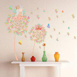 Fairy On Dandelion Design Bedroom Vinyl Wall Art Sticker