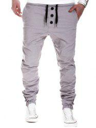 Drawstring Waistband Elastic Hem Casual Pants - GRAY