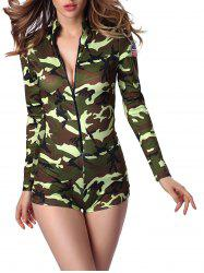 Letter Cap and Camo Printed Zipped Romper