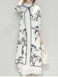 Bamboo Print Side Slit Mandarin Collar Cheongsam Dress Twinset - WHITE