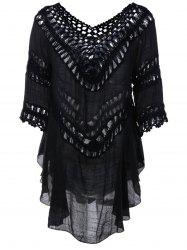Plunge V Neck See-Through Crochet Tunic Top - BLACK