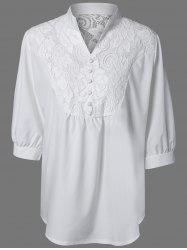 Plus Size Lace Spliced 1/2 Sleeve  Blouse