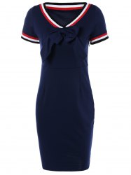 Preppy V Shape Stripe Bowknot Sheath Dress - PURPLISH BLUE XL