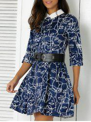 Retro Abstract Print Flat Collar Flare Dress