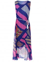 Bohemian Sleeveless Geometric Print Long Chiffon Dress -