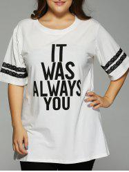 Plus Size 1/2 Sleeve Letter T-shirt -