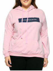 Plus Size Hooded Long Sleeve Letter Hoodie - PINK