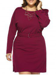 Plus Size Jewel Neck Long Sleeve Dress