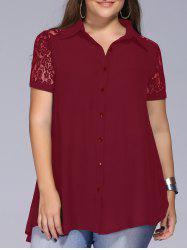 Lace Trim Plus Size Tunic Blouse - WINE RED