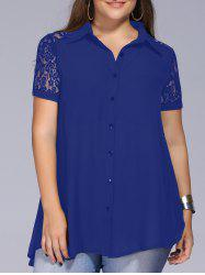 Lace Trim Plus Size Tunic Blouse - BLUE