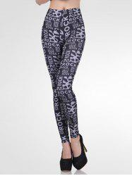 High-Waisted Stretchy Letter Print Slimming Leggings -