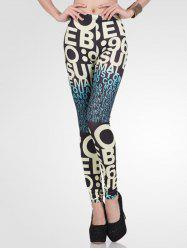 High-Waisted Stretchy Ombre Letter Print Leggings -