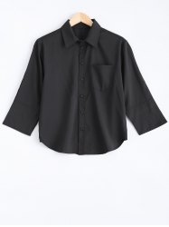 3/4 Sleeve Pocket Design Buttoned Shirt -