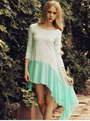 Scoop Neck Splicing Asymmetrical Dress