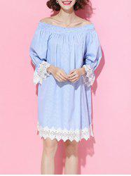 Off The Shoulder Pinstriped Lace Spliced Dress -