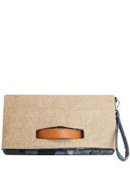 Jute Spliced Color Block Clutch Bag -