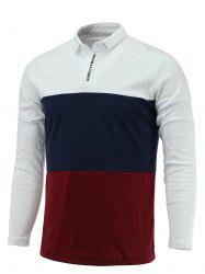 Long Sleeve Color Block Letter Printed Polo Shirt -