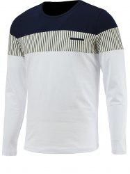 Brief Color Blocks Spliced Round Neck Long Sleeve Tee For Men - WHITE