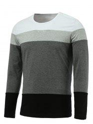 Brief Color Blocks Round Neck Long Sleeve Tee For Men