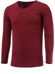 Long Sleeve Plain V Neck T Shirt - WINE RED