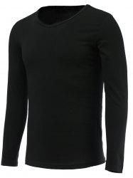 V Neck Long Sleeve Plain Tee