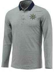 Chic Helm Embellished Polo Collar Long Sleeve Tee For Men