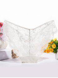 Glamour Bowknot Scalloped See-Through Lace Briefs -