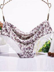 Scalloped Lace Spliced Butterfly Print Briefs -