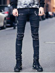 Zipper Fly Frayed Knee Patches Skinny Ripped Jeans - BLACK