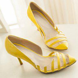 Stiletto Heel Point Toe Pumps - YELLOW