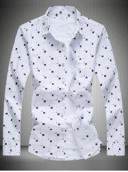 Turn-Down Collar Long Sleeve Geometric Print Shirt