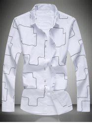 Geometric Pattern Turn-Down Collar Long Sleeve Shirt - WHITE