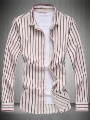 Long Sleeve Turn-Down Collar Striped Shirt -
