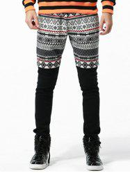 Tribal Print Drawstring Faux Twinset Pants -