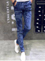 Animal design Zipper volants Slim Fit Jeans - Bleu 29