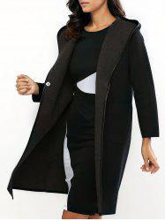 Reversible Style Hooded Buttoned Coat -