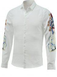 Peking Opera Character Print Long Sleeve Turn-down Collar Shirt For Men -