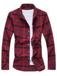 Turn-Down Collar Long Sleeve Checked Shirt