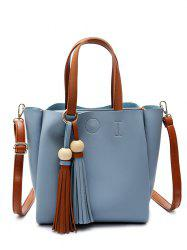 Metal Ring Tassels Colour Block Tote Bag - BLUE