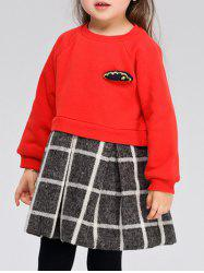 Col rond manches longues Plaid Splicing Dress -