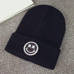 Warm Smile Face Embroidery Label Knit Beanie -
