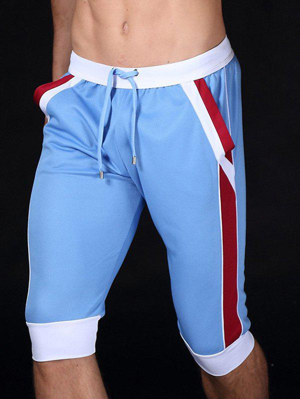 Chic Lace-Up Color Block Sport Jogger Cropped Pants