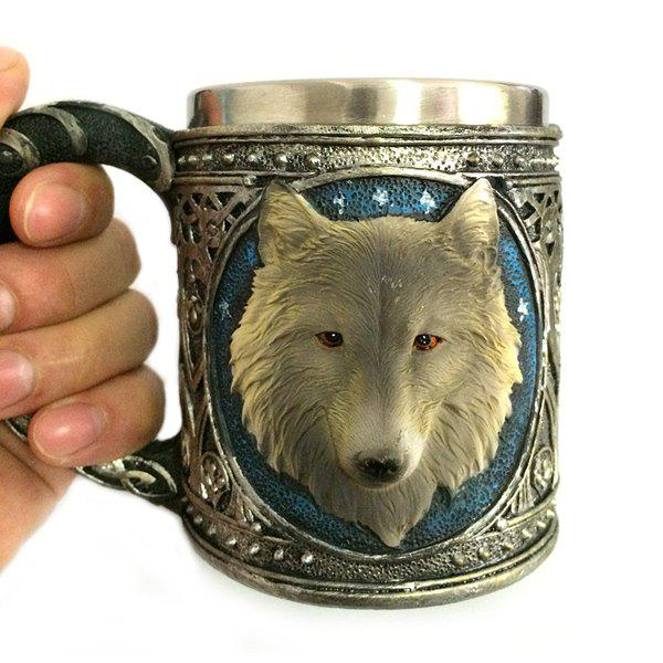 Chic 450ml Personalized Double Wall Stainless Steel 3D Wolf Head Mug