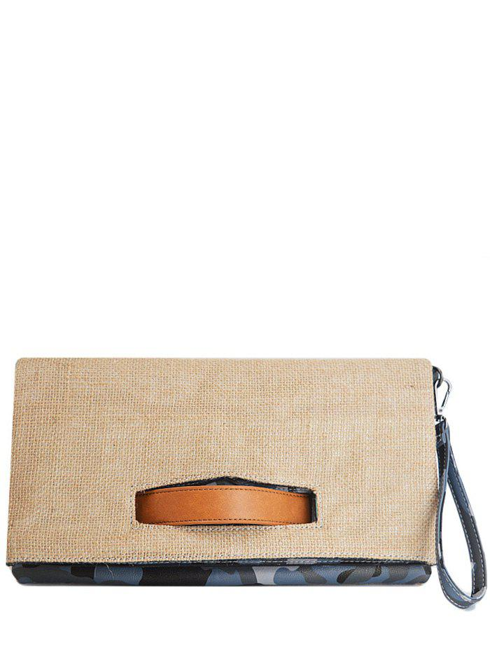 Shop Jute Spliced Color Block Clutch Bag